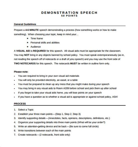 sle demonstration speech exle template 8 free