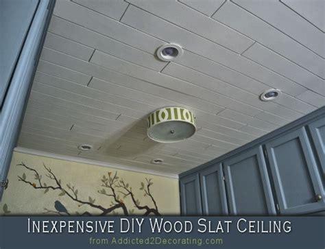 inexpensive diy wood slat ceiling plywood kitchen