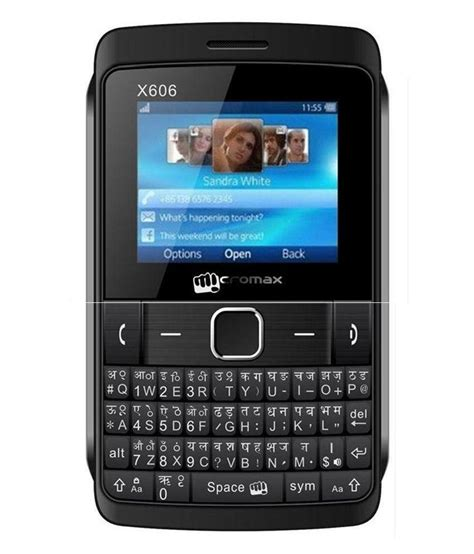 india mobile micromax x606 black feature phone at low prices