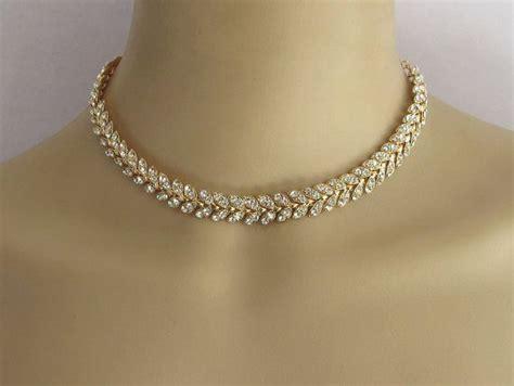 Choker Penta Gold Rings Choker gold choker necklace jewelry wedding rhinestone by beauteshoppe accessories