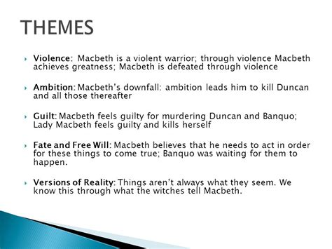 key themes in macbeth important quotes that shape macbeth ppt video online