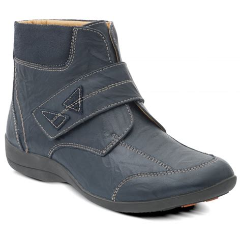 padders womens navy combi velcro boots