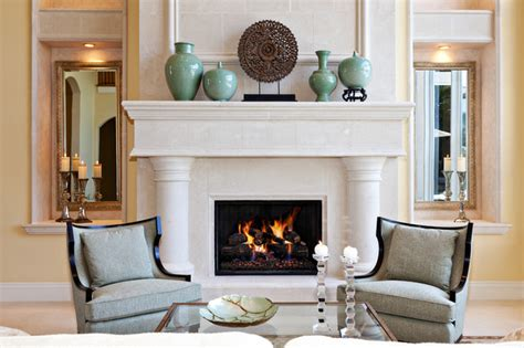 Decorating Ideas In Front Of Fireplace Modern Mediterranean Mediterranean Living Room Other