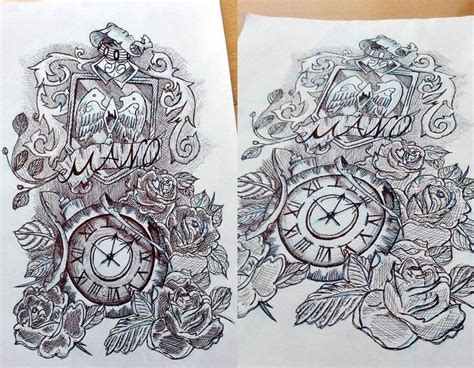 pen tattoo challenge clock sketch time 2h clock sketches sketch