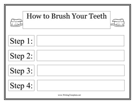 tooth writing template toothbrush template writing template