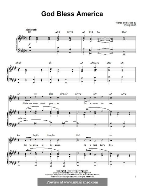 printable lyrics god bless america god bless america by i berlin sheet music on musicaneo
