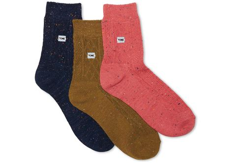 knit pack toms 3 pack cable knit ankle socks from toms