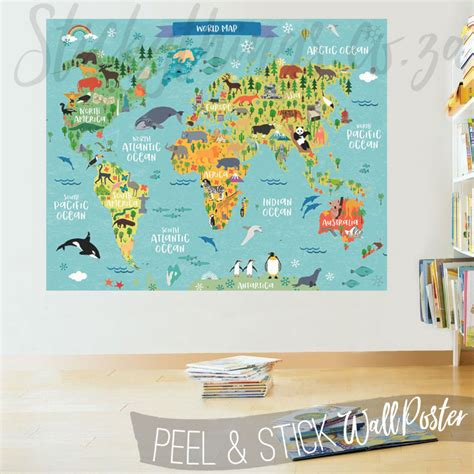 world map decal childrens world map decal poster world map wall sticker