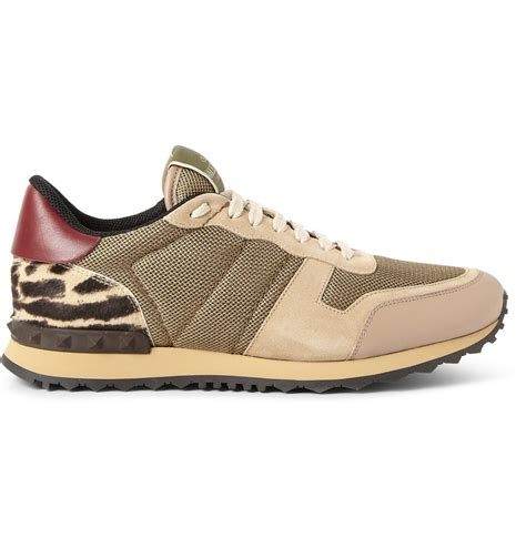 s valentino sneakers lyst valentino leather trimmed mesh suede and calf hair