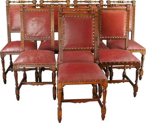 antique set 8 henry ii walnut leather