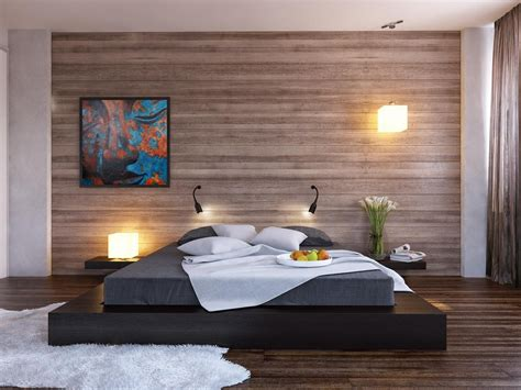 modern wall bed black platform bed wood clad bedroom wall interior