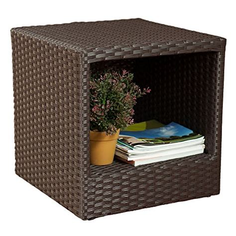 square side table with storage abba patio outdoor wicker patio square end table side