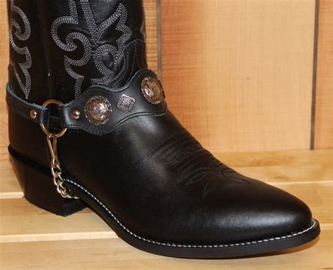 boot chains alm 559 bl boot black leather black nickle conchos