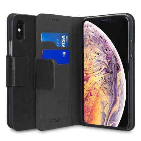 olixar leather style apple iphone xs max wallet case black