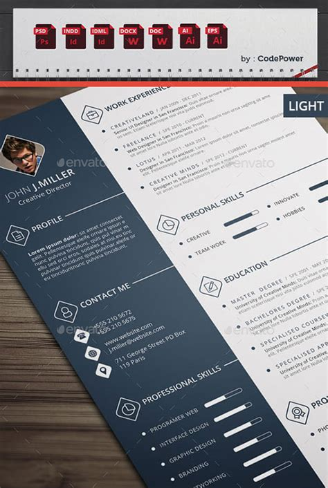 indd resume templates 10 all time best premium simple infographic resume cv template in word ai indd psd cdr
