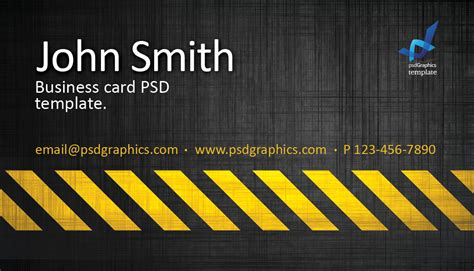 Construction Business Card Template Photoshop by Business Card Template Construction Hazard Stripes Theme
