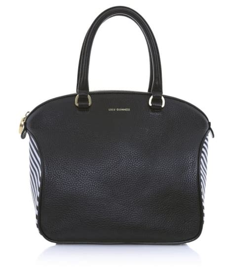 Lulu Guinness Striped Maddy Tote by Lulu Guinness Black Stripe Leather Tote Bag Jules B