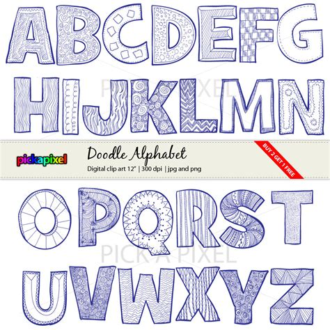 doodle alphabet doodle alphabet a z letters digital clip personal