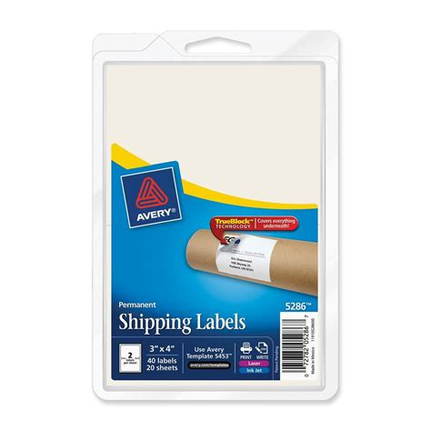 Avery Rectangle 3 Quot X 4 Quot Shipping Labels With Trueblock Technology 40 Per Pack White Ld Avery Rectangle Labels Template
