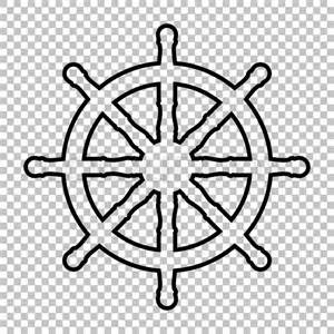 ship wheel template ship wheel line vector icon on transparent background