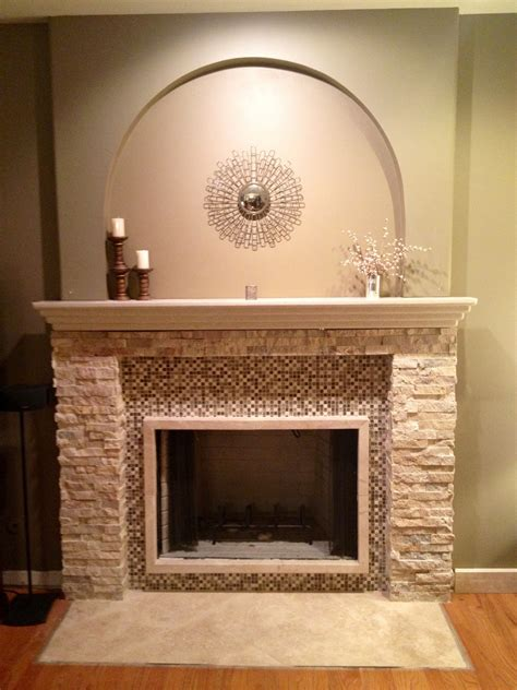 Glass Mosaic Fireplace Surround by Fascinating Stacked Marble Fireplace Mantel With