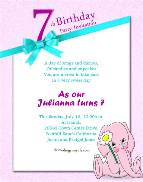 Invitation Letter Exles Birthday 7th Birthday Invitation Wording Wordings And Messages