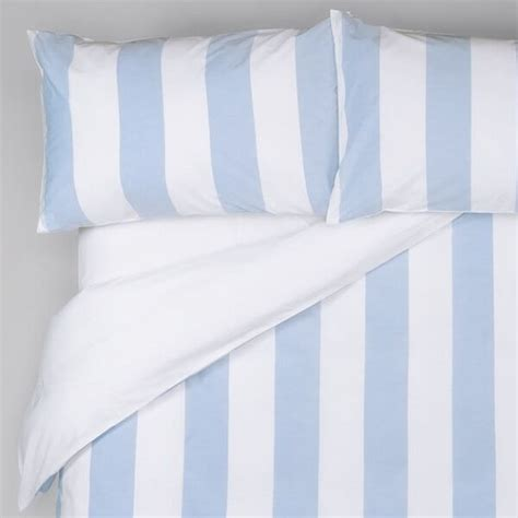 wide stripe duvet cover sky blue white