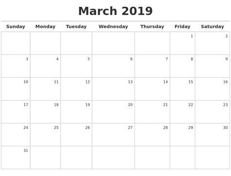 printable calendar april 2018 to march 2019 march 2019 calendar maker