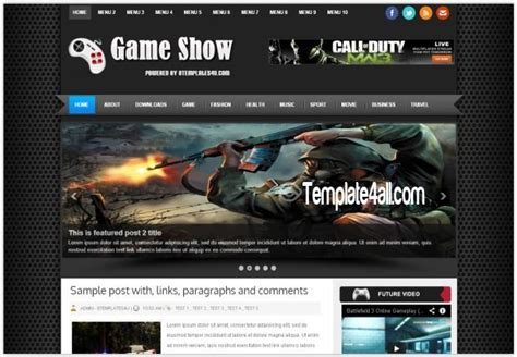 templates blogger for games black games review blogger template download