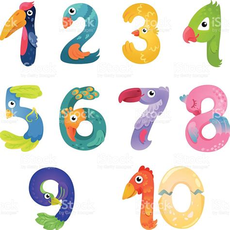 numbers like birds in fairy style stock vector art more