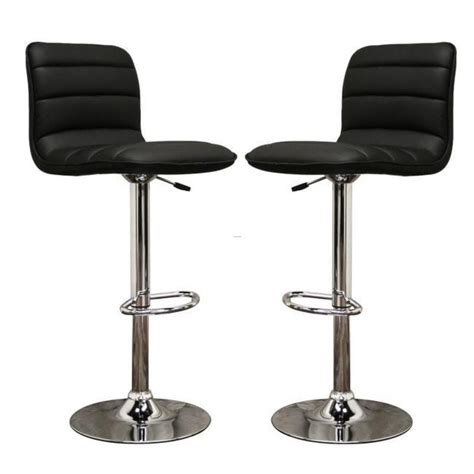 modern black leather bar stools lyris black faux leather modern bar stools set of 2