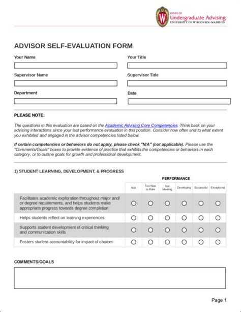 Dos In Writing Your Self Evaluation Sle Templates Academic Advising Form Template