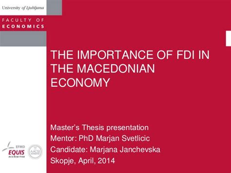 Importance Of Economics In Mba the importance of fdi in the macedonian economy mba