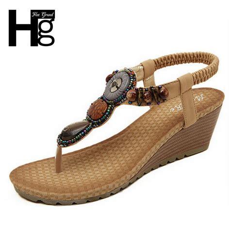 comfortable beach sandals 2015 bohemia wedge women sandals summer vintage rhinestone