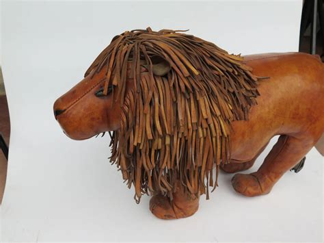 ottoman the lion leather lion footstool by dimitri omersa for abercrombie