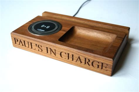 smartphone wireless charger personalised wooden wireless smartphone charger