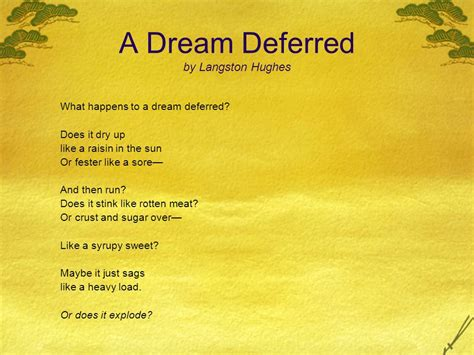 how are the themes of a dream deferred and a raisin in the sun similar completing the poetry markup worksheet for langston hughes