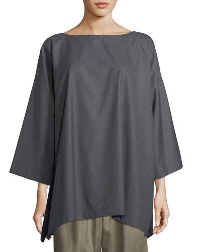 A Line 3 4 Sleeve Top eskandar slim a line 3 4 sleeve top in gray modesens