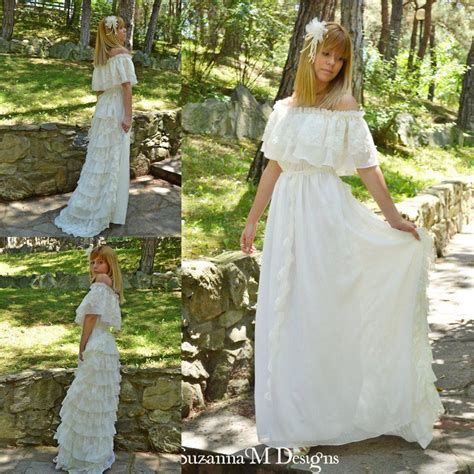 Vintage Hippie Wedding Dresses by Vintage Lace Ivory Bohemian Wedding Dresses The