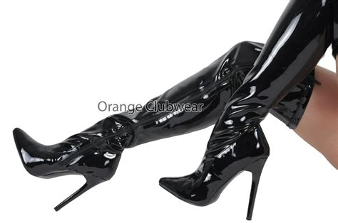 pleaser shiny black 5 quot stiletto high heels thigh high