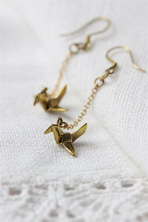 Origami Bird Earrings - charm origami bird earringswoodland origami bird