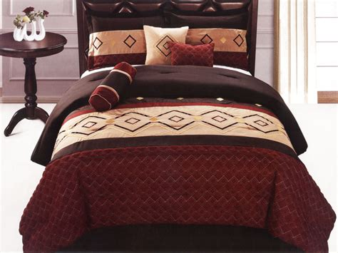 southwestern comforter set 7 pc quilted diamond embroidered southwestern style