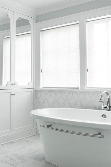 White And Silver Bathroom by White And Gray Bathroom With White And Silver Mosaic Glass