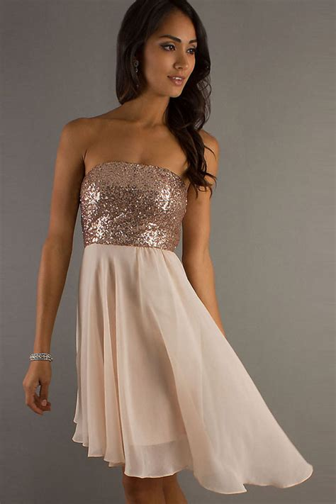 sequins decor strapless empire waist dress   cheap