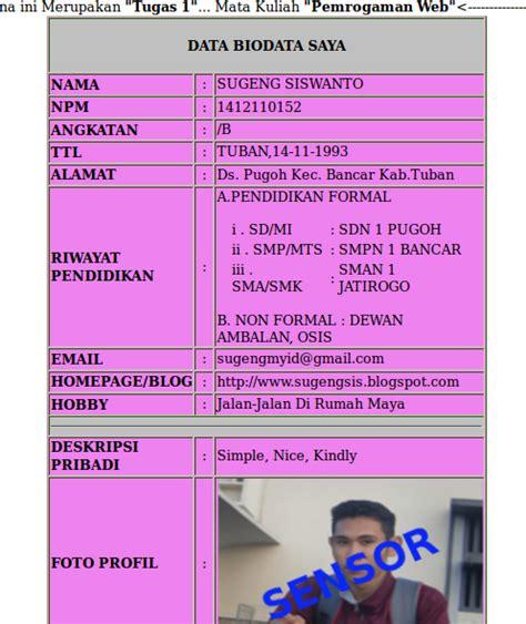 contoh biodata siswa lengkap fontoh
