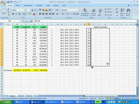 covariance excel