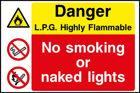 Self Adhesive by L P G Flammable Liquid No Smoking Sign Health And Safety