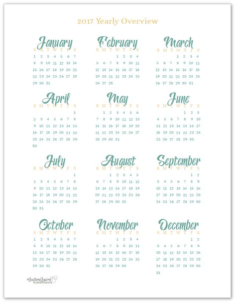 Whole Year Calendar 2017 2017 Year At A Glance Scattered Squirrel