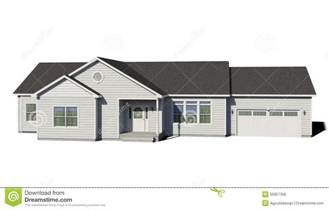 ranch style trim ranch house white stock illustration image of building