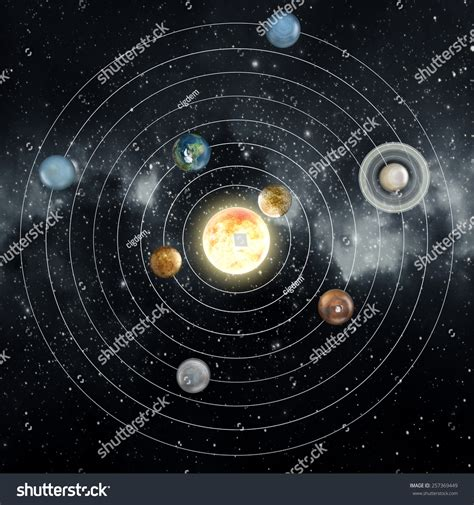 solar system diagram elements this image stock